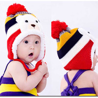 Wholesale New Christmas Child hat plus velvet baby ear protector cap thickening Thermal winter Warm fashion baby hats caps