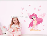 Wholesale Removable Wall Sticker pink faery girl baby nursery kids room decor decals mural