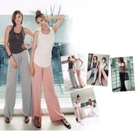 Wholesale new arrival women s solid color drawstring waist modal yaga pants wide leg elastic fabric GYM sports pants