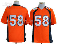 Football Men Short Brand-Wholesale - New Jersey 2013 New Season American Football Team Jerseys 58# Orange Game Jerseys High Quality Breathable Football Wears C