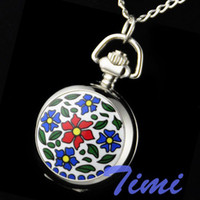 Antique Quartz Guangdong China (Mainland) Wholesale-multicolor Flower rare women ladies girl pocket watch s