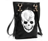 Shoulder Bags Unisex Skulls New Style Fashion Punk Black Skull Face Designer Pu leather Handbag Women's Shoulder Bag,Lady Cross Body Bag Free Shipping