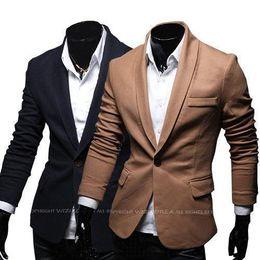 Wholesale 2014 Plus Size Mens Business Blazer Fashion slim fit Jacket Blazers Coat Button suit Men Formal suit jacket