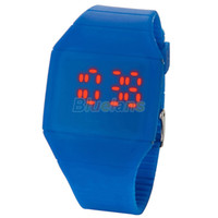 Cheap Wholesale-2014 luxury Ultra-thin Fashion Mens Lady Women Touch Digital Red Led Silicone Sports Wrist Watch Silicone Band Novelty item 027R
