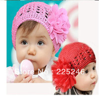 Boy Summer Crochet Hats Wholesale-Free shipping Toddlers Girls Baby 1 PC Handmade Flowers Hollow Hat Crochet Knit Cap 1-2 Years XL141
