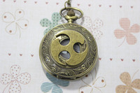 Wholesale Antique Brass Naruto symbol Pocket watch necklace with the clock surface pocket watch necklace