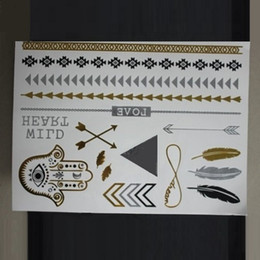 Wholesale gold silver metal texture temporary flash tattoo stickers K gold silver jewelry tattoos waterproof new designs
