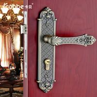 Wholesale European interior door handle lock door wooden door copper cylinder lock stainless steel lock body suit room