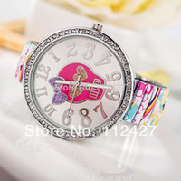 Children's Complete Calendar Round Wholesale-2014 New items Children Fashion watch Top quality band with skull face Cartoon watch-EMSX61003