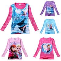 Girl Summer Children Wholesale-[ Bear Leader ]Girls Frozen T-shirt Cute Anna Elsa Pattern Long Sleeve Tees Kids T Shirt Spring Autumn Clothing ATX022