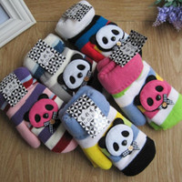 Wholesale Korean version of the cute cartoon panda girls warm winter mittens double plus thick velvet glove grant