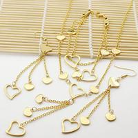 al por mayor conjuntos de joyas de oro amarillo-Nuevo producto del envío libre para los sistemas excelentes de la joyería de la calidad de las mujeres (pendientes de gota / collar / pulsera) Corazones plateados oro amarillo