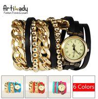 Wholesale Artilady new wrap wrist watch retro leather watch with gold chain beads bracelet stack layer watch women jewelry