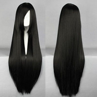 Wholesale Hot Sale Heat Resistant Bang Cosplay Anime Wig Young Straight Long Synthetic Hair Full Wigs Black Party Wigs