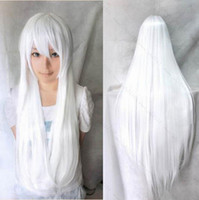 White Straight Synthetic Hair Free Shipping 2014 New 70cm Women Heat Resistant Lolita Candy White Color Long Straight Hair Cosplay Anime Party Wig Hairband