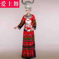Wholesale 2014 Miss Hmong dance costume costumes bridal wear silver necklace silver headdress hat Miao costumes