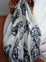 Wholesale Black and white butterfly scarf spring and summer air conditioning cape women s silk scarf