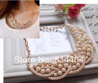 Wholesale Details about Fashion New Elegant Imitation Pearl Hollowed Golden Choker Bib Collar Necklace