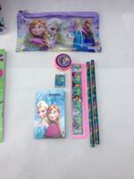 Wholesale 2014 new Frozen stationery set for Students Office School Supplies Frozen Cases Bag book pencils Ruler eraser sharpener bag