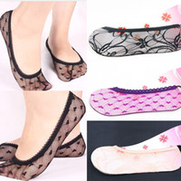 Wholesale 2014 New Women s Printed Socks High Quality Lace Short Socks For Girl Cotton Ship Boat Summer Invisible Thin Ship Sock MJD0076