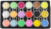 Full Natural Tips Square  Nail Tips Wholesale-Free shipping 18 COLOR ACRYLIC POWDER Nail Art Paint False Tips