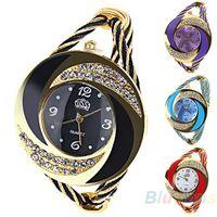 Wholesale Fashion Women Rhinestone Round Crystal Decorated Bangle Cuff Analog Quartz Bracelet Dress Watch OHY