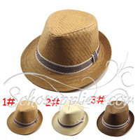 Wholesale Solid Color Boy s Straw Fedora Children Top Hat Topee Kids Summer Straw Sunhat Caps MZL