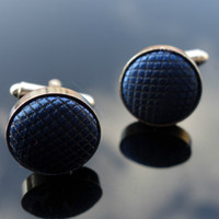 Wholesale Solid color Round fabric Cufflink For men Cuff links color