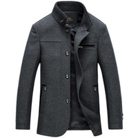 Wholesale Fashion Winter Men s brand stand collar casual wool jackets solid windbreaker coats for men