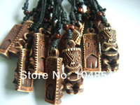 Beaded Necklaces animal totem necklace - 12pcs Mens Brown Tribal Yak Bone Carved Tiki Man Totem Necklace Pendants x18mm N2533