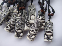 Wholesale 12pcs Mens white Tribal Yak Bone Carved Tiki Man Totem Necklace Pendants x18mm