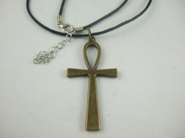 10pcs Wax Cord Antique Bronze Plated EGYPTIAN ANKH CROSS Charm Necklace Pagan Wicca