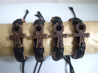 american egypt - 12pcs Men Women Wrap Leather Dark Brown Egypt Ankh Charm Bracelets