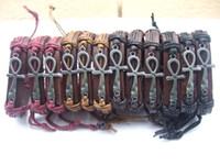ankh charm - 12pcs Mens Womens Wrap Leather Egypt Ankh Charm Bracelet