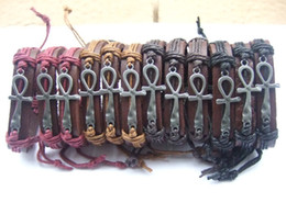 Wholesale 12pcs Mens Womens Wrap Leather Egypt Ankh Charm Bracelet