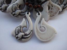 12 Pcs White Imitation yak bone resin hooks Eagle necklace