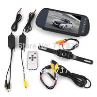 "Car Monitors 7"" Black New 7"" Car LCD Monitor Mirror + Wireless Reverse Car Rearview Backup Camera Kit"