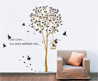 Wholesale Removable Beautiful Cage tree Wall Stickers Decal Home Accessories Pattern Design on Promotion wall Mural Home Decoration