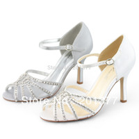Women Pumps Winter Wholesale-SHOEZY New sexy Womens White Silver Strap ankle heels shoes woman Rhinestone sandals for Bridal Bridesmaid Evening Prom Dress