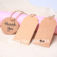 Wholesale Brown Kraft Paper Hang Tags Rectangles and Circle Shape Design For Wedding Party Favor Punch Label Price Gift Cards