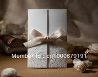 Wholesale Vintage Embossed Tri fold Wedding Invitation With Ribbon Bow Set of greeting card wedding card for love