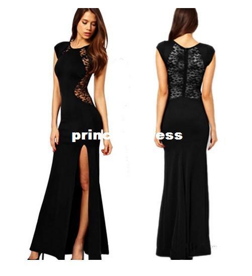 Вечернее платья черное длинное фото
