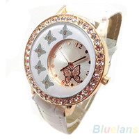 Wholesale Fashion Women Crystal Rhinestone Butterfly Pattern Crystal PU Leather Band Quartz Wrist Watch Dress IQ