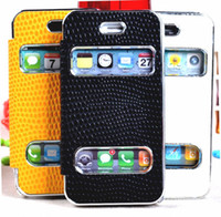 Wholesale NEW snake leather skin flip book pouch case for iphone4s mobile phone bags cases accept mix color order