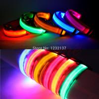 Wholesale L109Adjustable Pet Dog Flashing LED Lights Safety Nylon Night Glow Collar