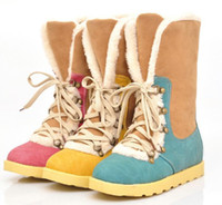 Wholesale Fashion snow boots for women comfortable flat shoes winter boots large size boots Blue red yellow c