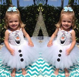Wholesale New arrive frozen girls dress olaf custom white baby girl dresses children tutu skirts kids party dress on halloween christmas JL