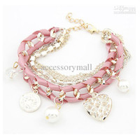 Wholesale new jewelry european fashion hellow heart ribbon knitted bracelet crystal pearl accessory gold women gift jewelry