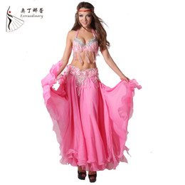Wholesale Belly Dance Chiffon Hawaii Style Performance Belly Outfit For Belly Dance Costumes Dance Skirt Clohing Sets Bra skirt belt