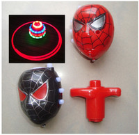 Wholesale Spider Man SPIDERMAN Flash Light Music Spinning Top Flashing Toys Classic Toy Light Up Toy piece